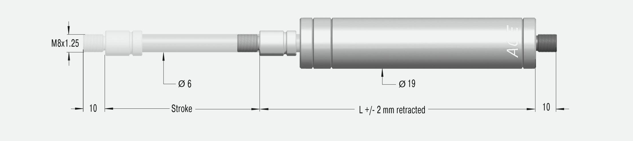 Industrie-Gaszugfeder, Ø 19mm, Hub 200mm in V4A Edelstahl