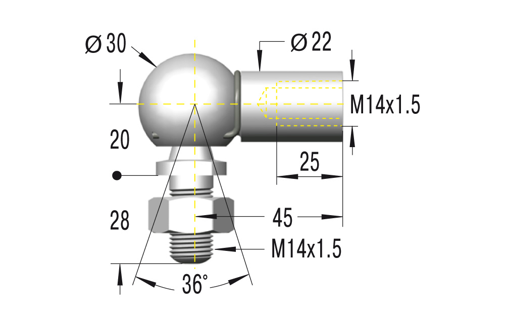 Winkelgelenk M14x1,5 **maximale Belastung 3200N**