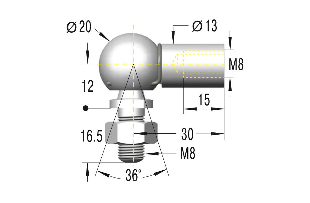 Winkelgelenk M8 in Edelstahl komplett in V2A