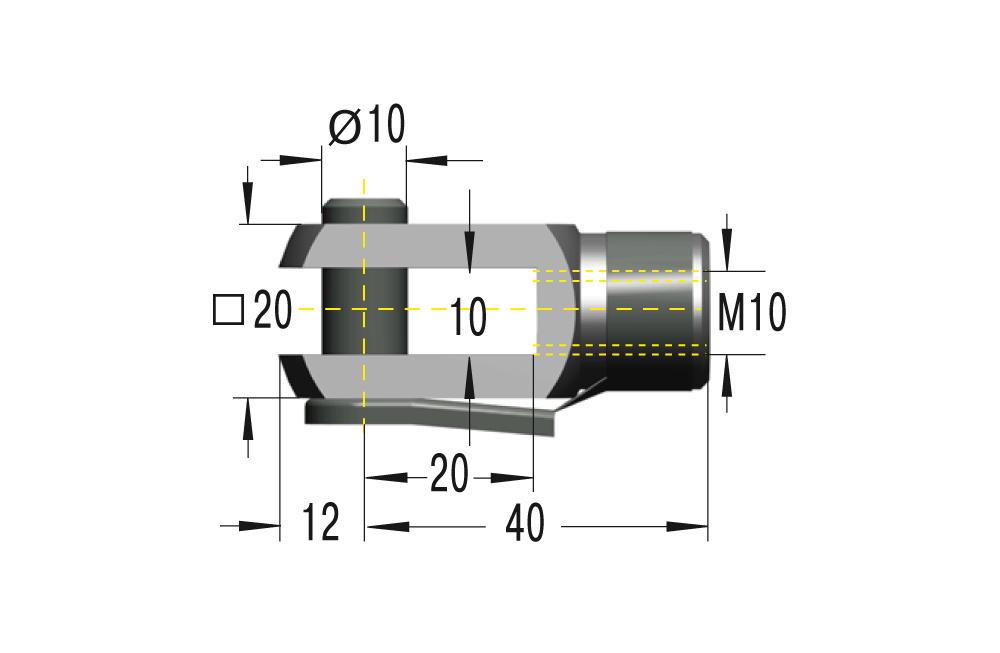 Gabelkopf M10 **maximale Belastung 10000N**