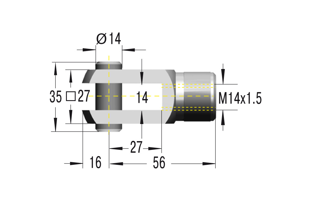 Gabelkopf M14x1,5 in Edelstahl komplett in V2A