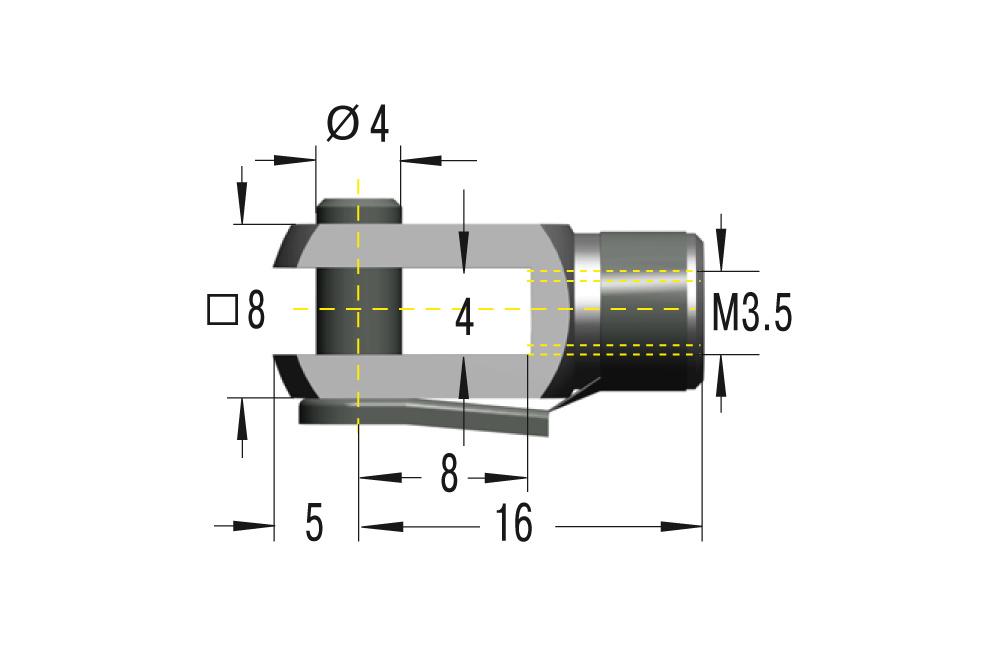Gabelkopf M3,5 ***maximale Belastung 225N***