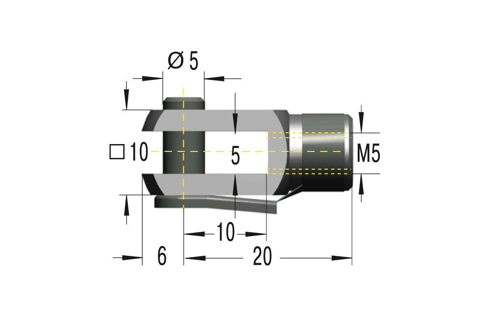 Gabelkopf M5 ***maximale Belastung 800N***
