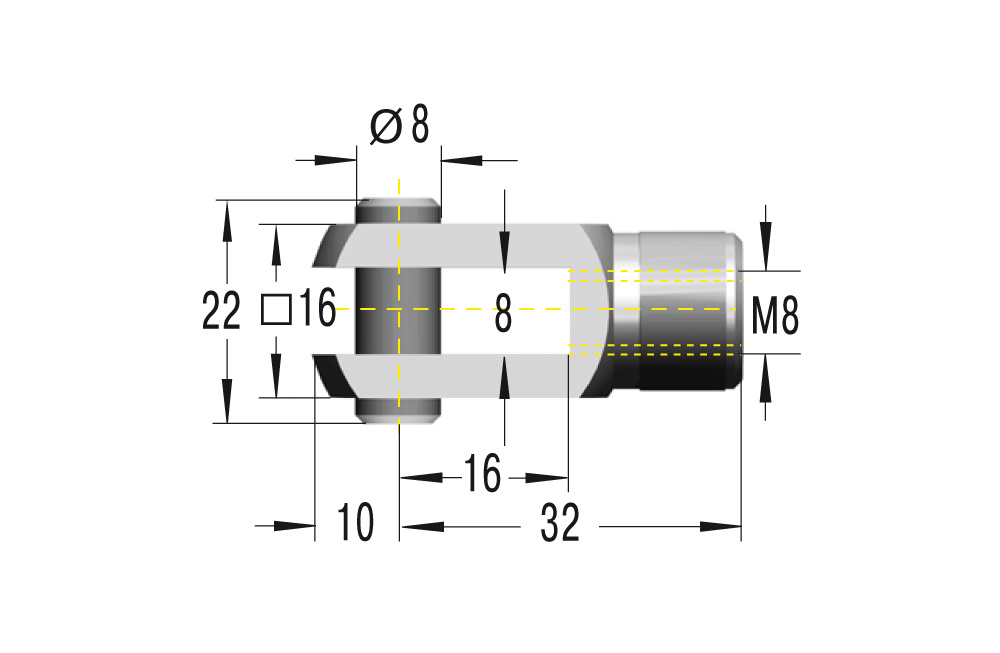 Gabelkopf D8 in Edelstahl komplett in V2A