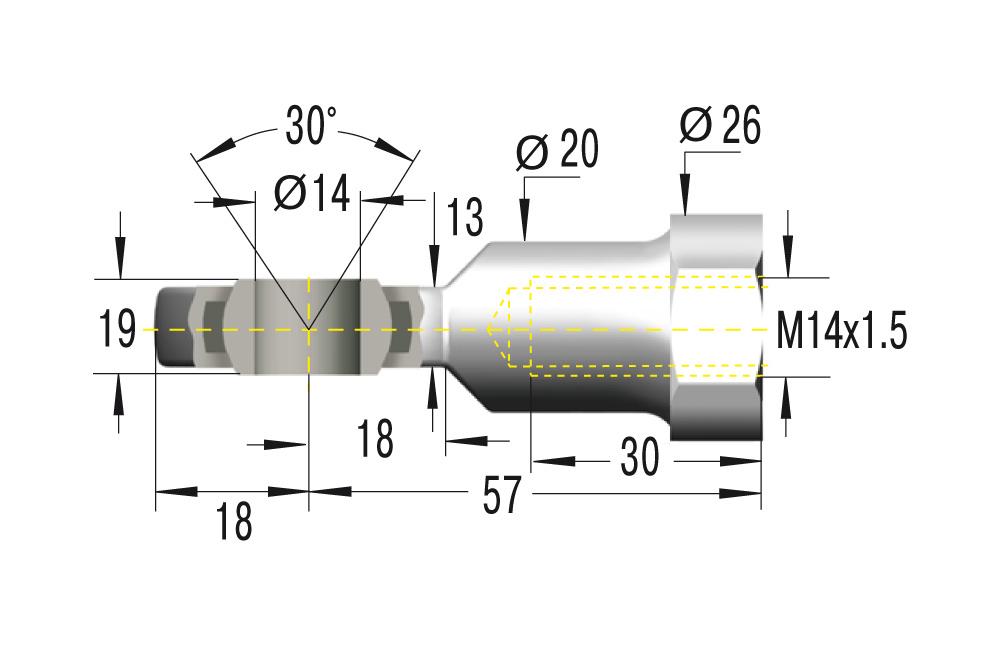 Gelenkkopf M14x1,5 in Edelstahl V2A