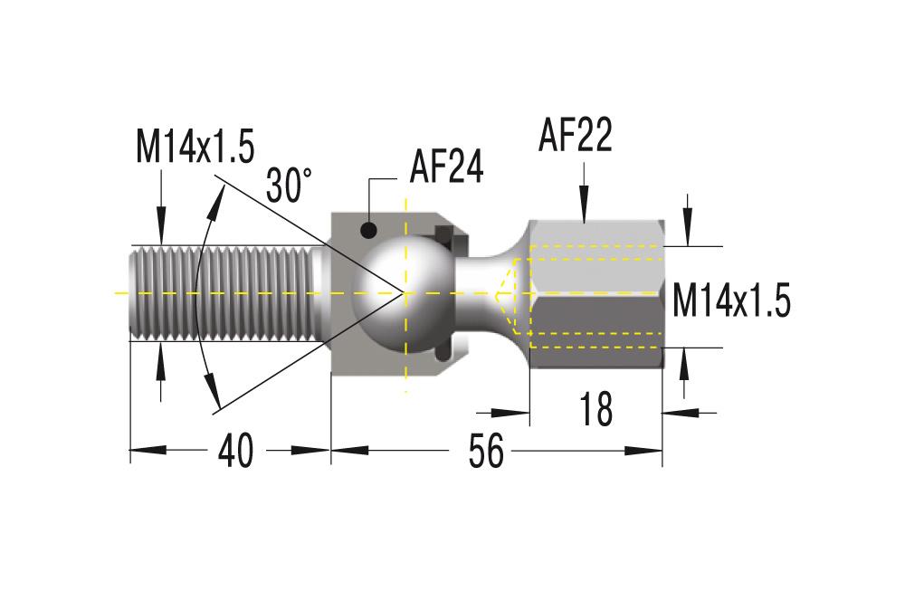 Gelenkschraube M14x1,5 ***maximale Belastung 3200N***