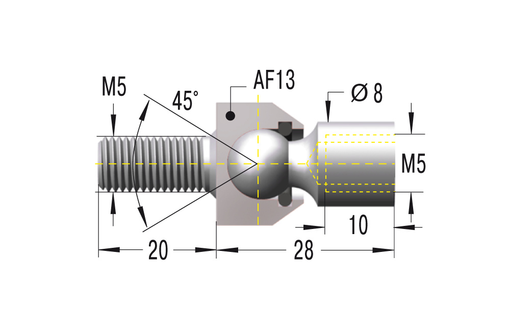 Gelenkschraube M5x0,8 ***maximale Belastung 500N***