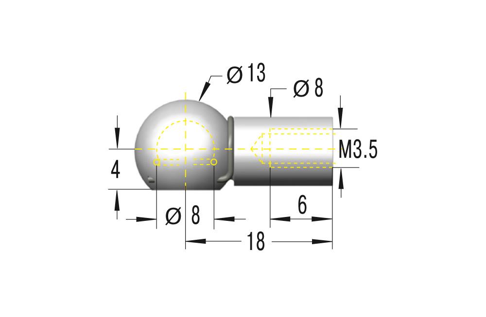Kugelpfanne M3,5x0,6 ***maximale Belastung 225N***