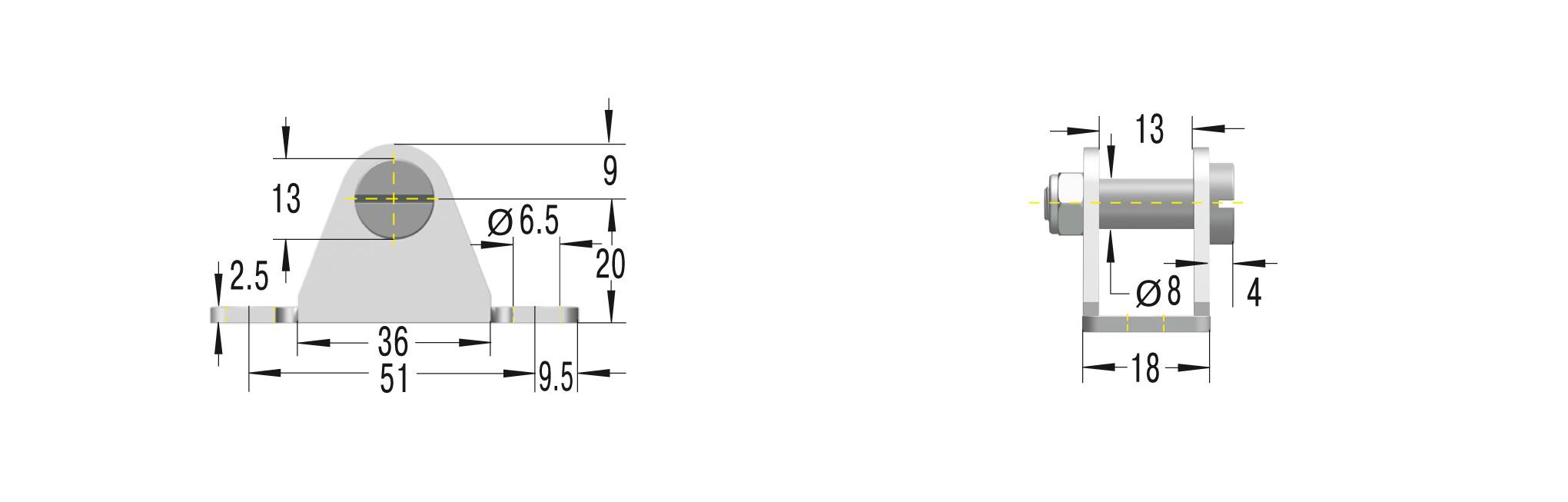 Beschlag für GS-19,22,GZ-19,HB-22,28, HBS-28, DVC- 32 ***maximale Belastung 1800N***