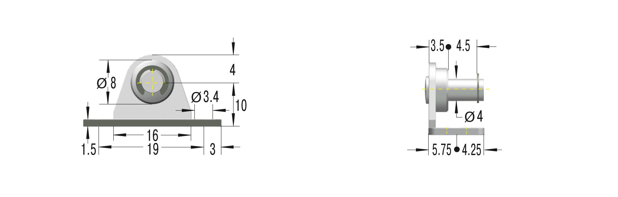 Beschlag für GS-8, 10 und 12 ***maximale Belastung 180N***