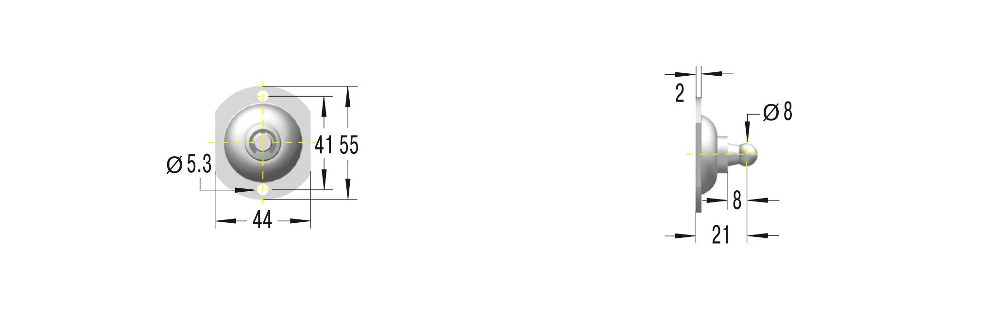 Beschlag für GS-15 und HB-15 ***maximale Belastung 500N***